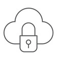 cloud and lock thin line icon data and protect vector image vector image
