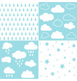 clouds and rain seamless patterns vector image vector image