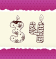 collection birthday candles 3 and 4 vector image vector image