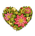 colored floral composition in heart shape vector image