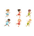 cute kids running set adorable boys and girls vector image vector image