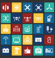 drone icons set on color squares background for vector image