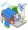 Electrician People Isometric Composition vector image vector image