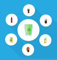 flat icon beverage set of juice fizzy drink vector image