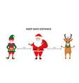 funny christmas elf deer and santa claus wear vector image vector image