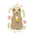funny sloth eating ice cream vector image vector image