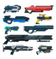 futuristic space guns blasters collection vector image