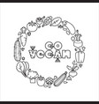 go vegan linear icons vegetables vector image