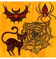 Halloween set with cat bat spider web vector image vector image