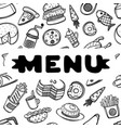 hand drawn menu for cafe with food sketch concept vector image vector image