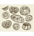 Hand-drawn vintage breads pastries Pie pasty vector image vector image