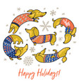 happy holiday card witn funny dachshunds in vector image vector image