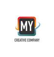 initial letter my swoosh creative design logo vector image vector image