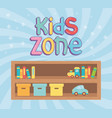 kids zone wooden shelf with boxes books and toys vector image vector image
