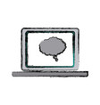 laptop bubble speech communication technology vector image