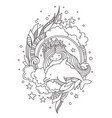 little mermaid in a wreath of starfish with cute vector image vector image
