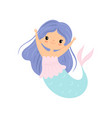 little mermaid with long beautiful blue hair cute vector image vector image