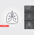 lungs line icon with editable stroke vector image