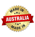 made in Australia gold badge with red ribbon vector image vector image