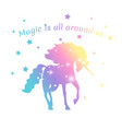 magic unicorn color with stars isolated on white vector image vector image