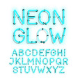 neon glow alphabet on white background vector image vector image