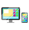 pc personal computer and smartphone gadgets set vector image vector image