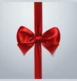 red bow and ribbon silk satin or foil packing vector image vector image