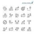 route line icons editable stroke vector image