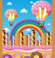 scene with children flying in candy balloons vector image vector image