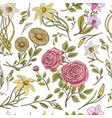 seamless pattern roses with leaves and buds vector image