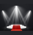 stairs 3d with red carpet spotlight scene vector image vector image
