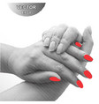 striped hand with red nails vector image vector image