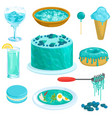 turquoise blue cacke or sweet dessert with vector image
