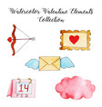 watercolor valentine elements collection vector image vector image