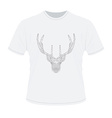 White t-shirt with polygonal haed of deer vector image vector image