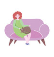 young woman with cat sitting on sofa isolated icon vector image vector image