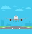 white plane landing on runway airport buildings vector image