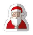 sticker half body cartoon santa claus portrait vector image