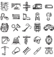 Black icons collection for rock climbing vector image vector image