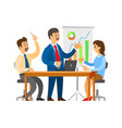 boss on seminar brainstorming with workers team vector image vector image