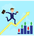 businessman running on growth arrow trader flat vector image