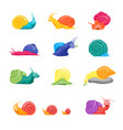 cartoon color characters funny snails set vector image vector image