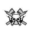 company emblem with spray guns and skull face vector image vector image