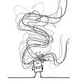 confused carton girl with long tangled gray hairs vector image