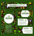 corporate identity with wild flowers pattern vector image vector image