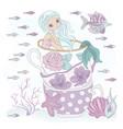 cup mermaid ocean princess vacation vector image vector image