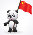 cute cartoon panda with chinese flag vector image