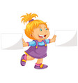 cute girl holding paper vector image vector image