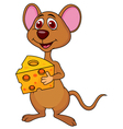 Cute mouse cartoon holding cheese vector | Price: 3 Credits (USD $3)