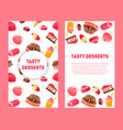 delicious desserts and pastries banners set with vector image vector image